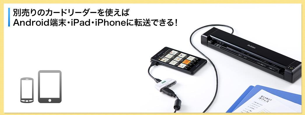 別売りのカードリーダーを使えばAndroid端末・iPad・iPhoneに転送できる