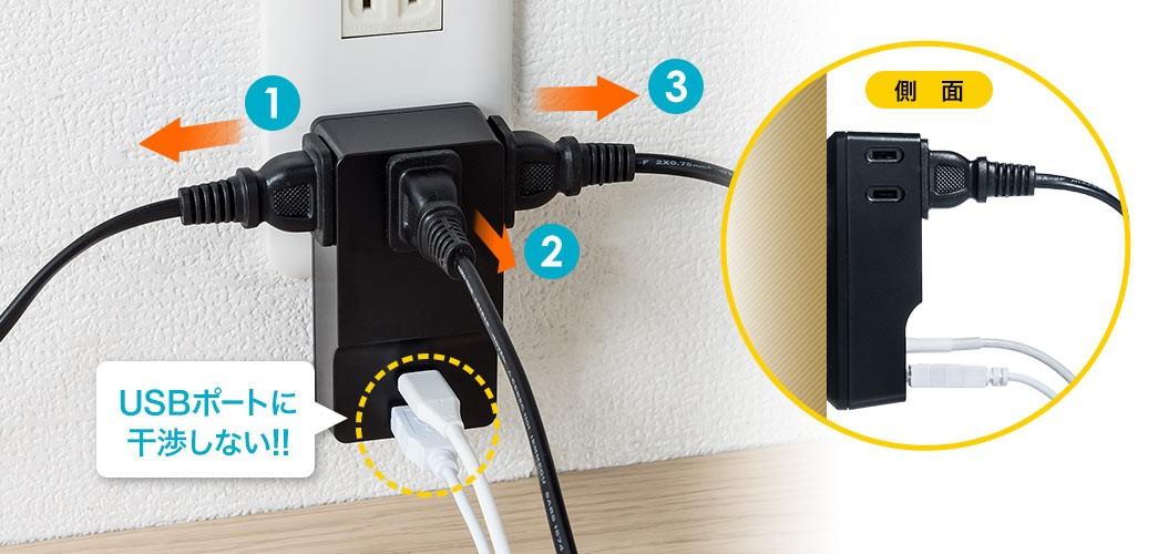 USBポートに干渉しない