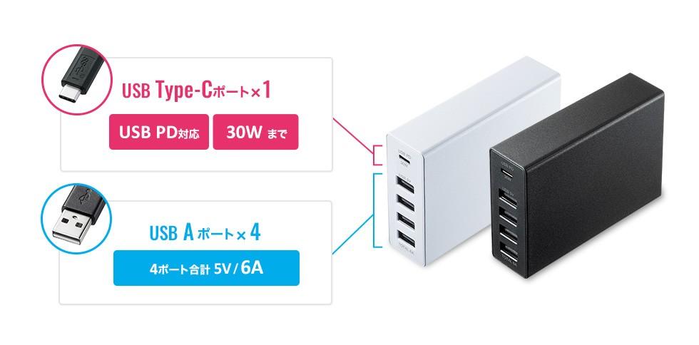 USB Type-C USB PD対応 USB A