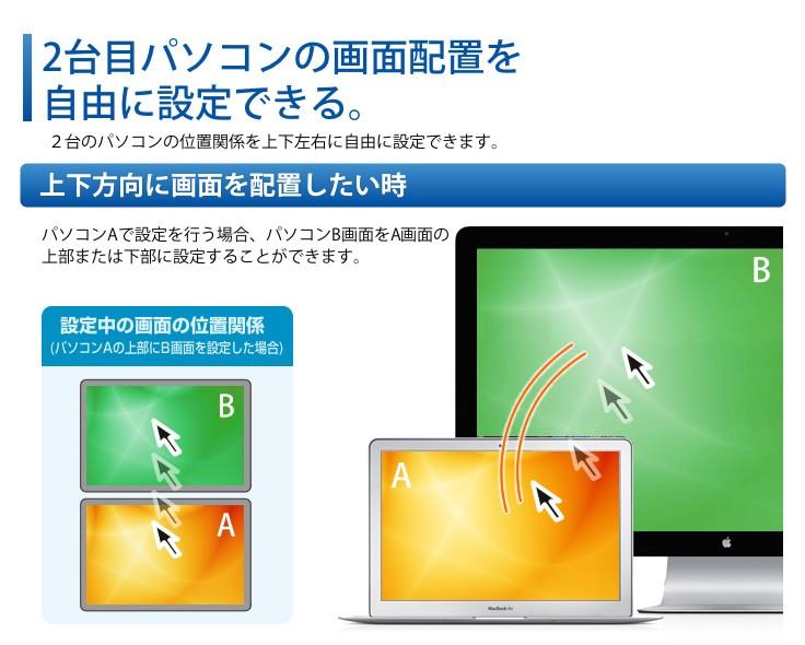 2台目パソコンの画面配置を自由に設定できる。上下方向に画面を設置したい時