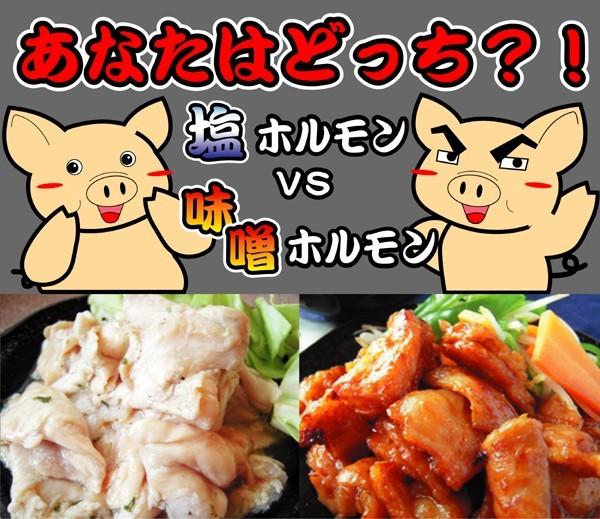 【焼肉ホルモン】塩味、みそ味どちらが好き?