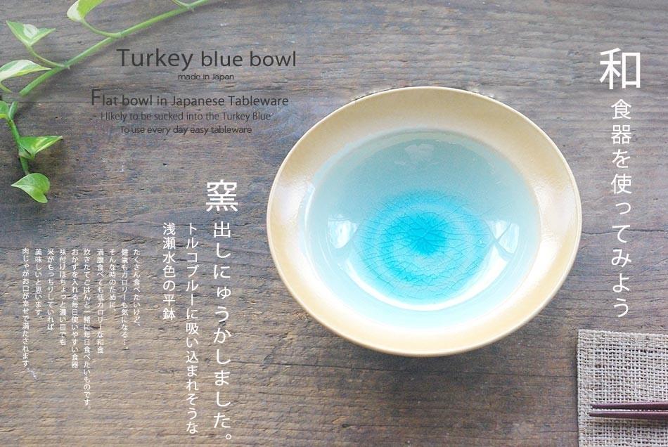 トルコブルーに吸い込まれそうな浅瀬水色の平鉢