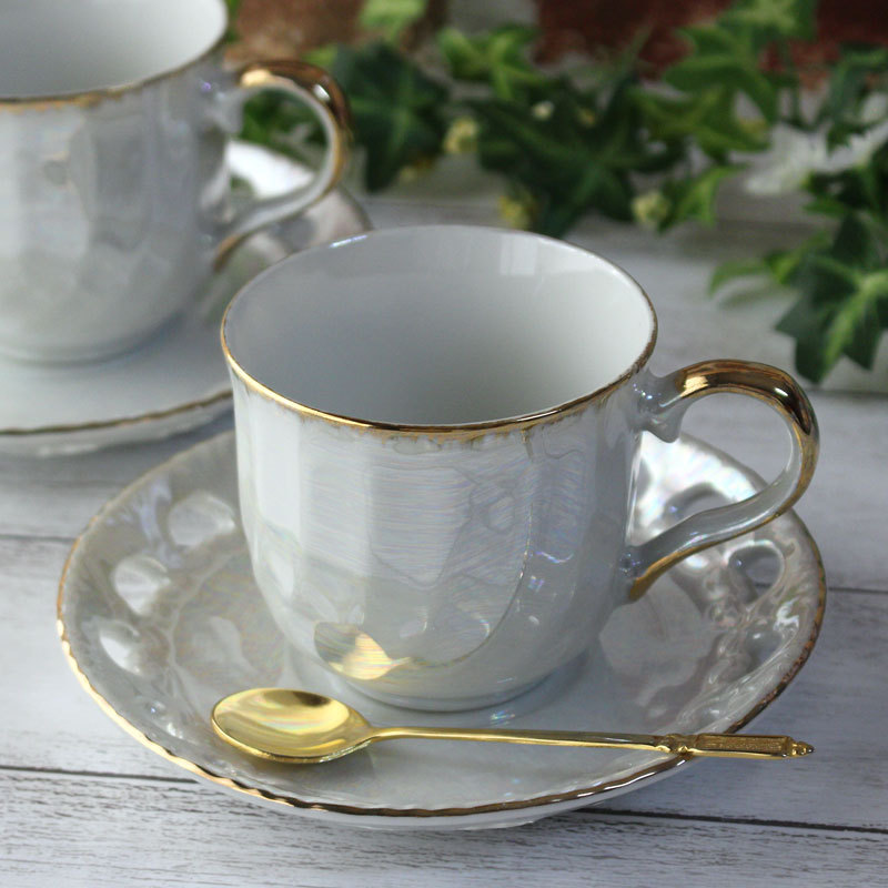 真珠ラスター コーヒーカップ ハート透かしソーサー