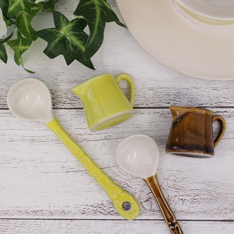 陶器製1人用ミルクピッチャー スプーンセット