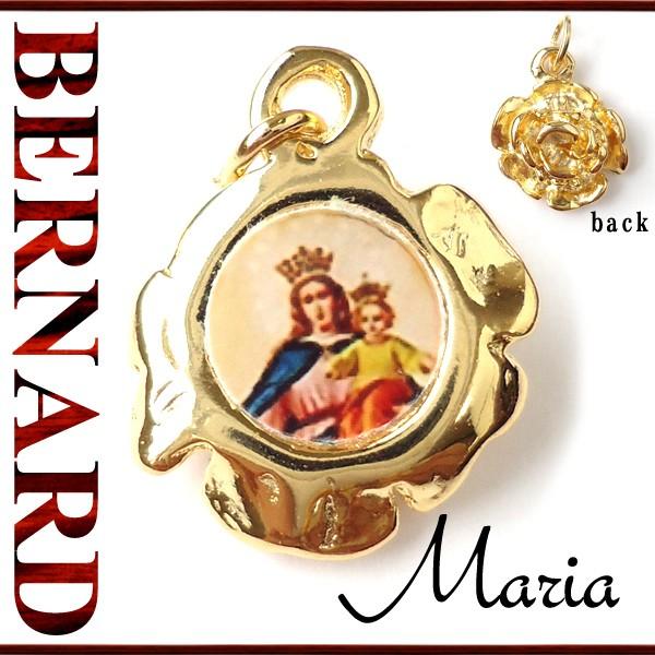 ヴィンテージアクセサリー BERNARD 扶助者 聖母マリア薔薇メダイ