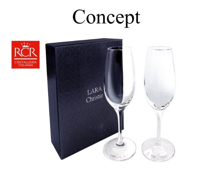ララクリスティー シャンパングラス 2本セットと専用ボックス