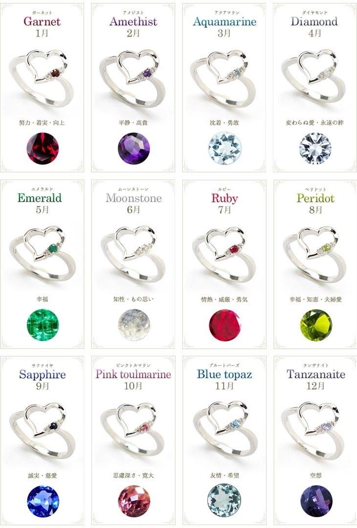 リングの宝石は誕生石12種類からお好みのものをお選びいただけます