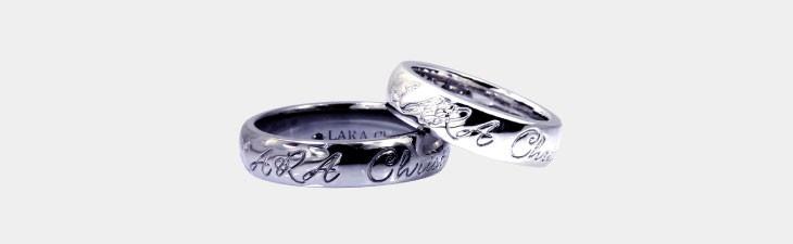 ブランド LARA Christie(ララクリスティー)のロマンス ペア リングの全体像。