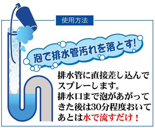 泡で排水管汚れを落とす!