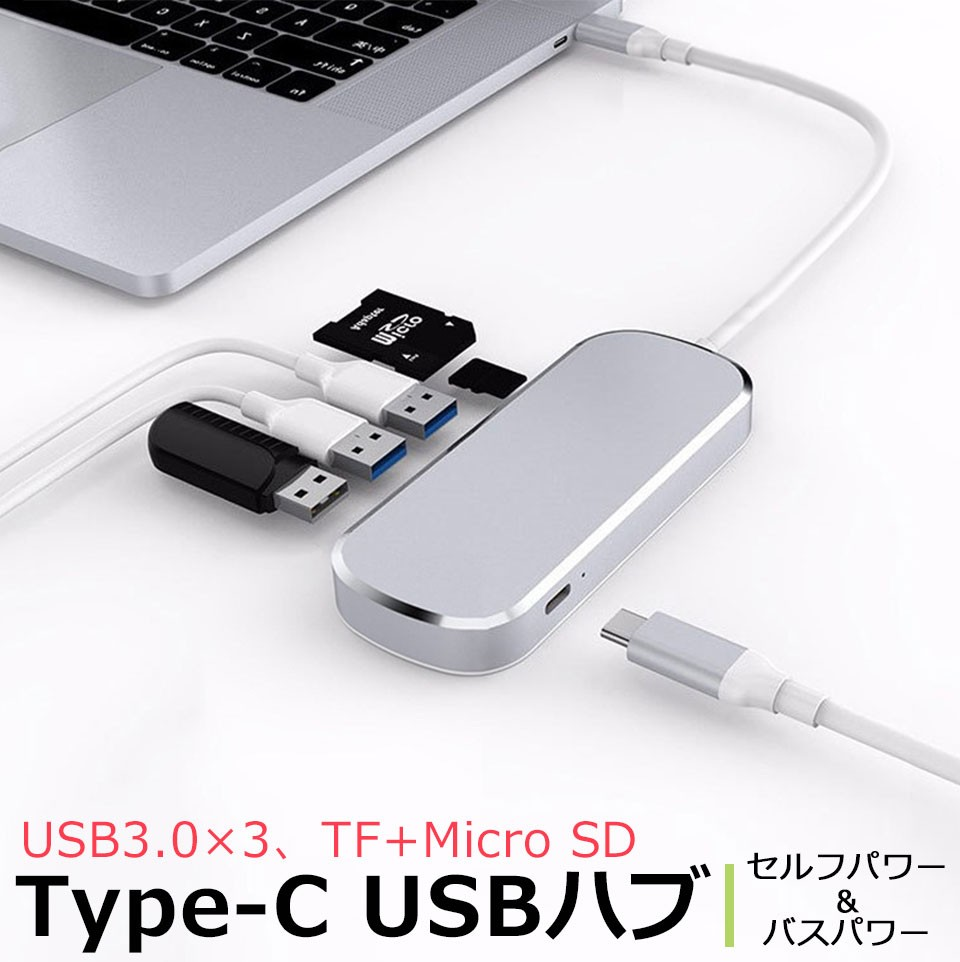 『Type-C』: USB3.0×3(TF/SDリーダー付)ハブはこちら