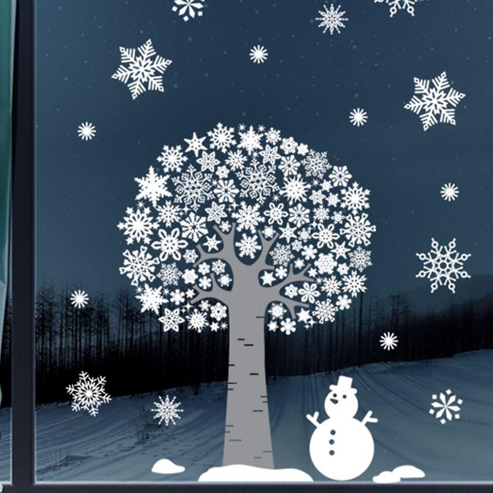 ウォールステッカー 壁 クリスマス ツリー 雪だるま 両面印刷 雪 結晶