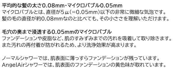 平均的な髪の太さ0.08mm マイクロバブル0.05mm