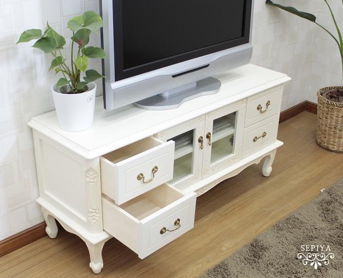 SARAホワイトアンティーク調TVボード120