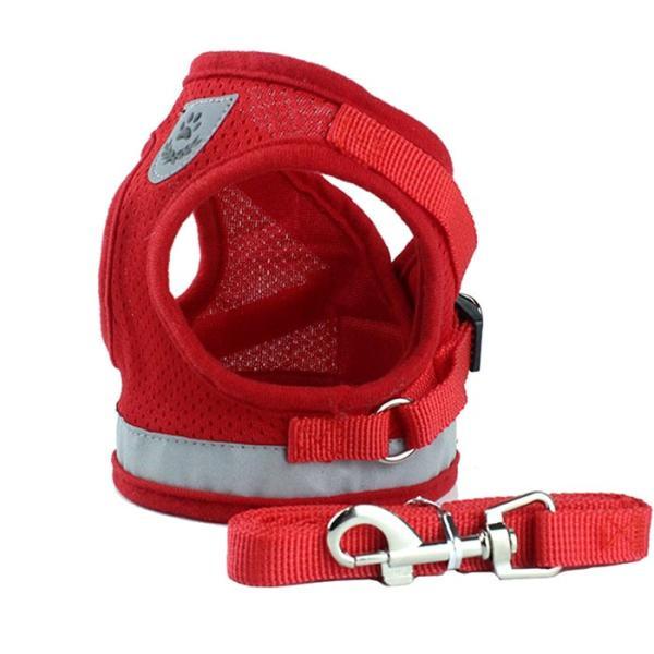 犬 ハーネス リード付 ペット 服  ウェアハーネス 胴輪 キャット ドッグ メッシュ|sevenbridge|10