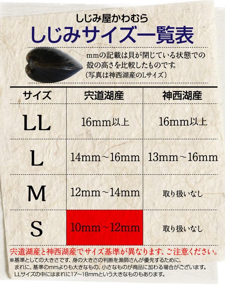 しじみのサイズ一覧表、宍道湖産しじみSサイズ、10ミリ〜12ミリ