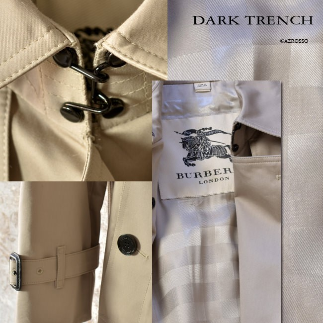 襟元のフックやボタン、バックルといったパーツを全てブラックに統一したダーク トレンチ。カジュアルにもなりやすい明るいカラーをシックに引き締めます。