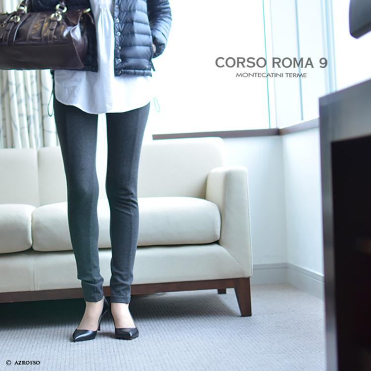 CORSO ROMA 9 コルソローマ 9  レザー パンプス ポインテッドトゥ  黒 ブラック イタリア製  ヒール 痛くない 歩きやすい 疲れない とんがり 牛革 7cm 8cm ブランド 冠婚葬祭 スムース 結婚式 モデル写真 パンツ