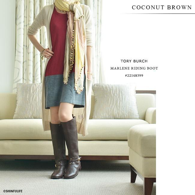 ロングブーツ マレーネライディングブーツ トリーバーチ TORY BURCH 正規品 MARLENE RIDING 黒 ブラック ブラウン 靴 大きいサイズ 送料無料 モデル画像 ココナッツブラウン