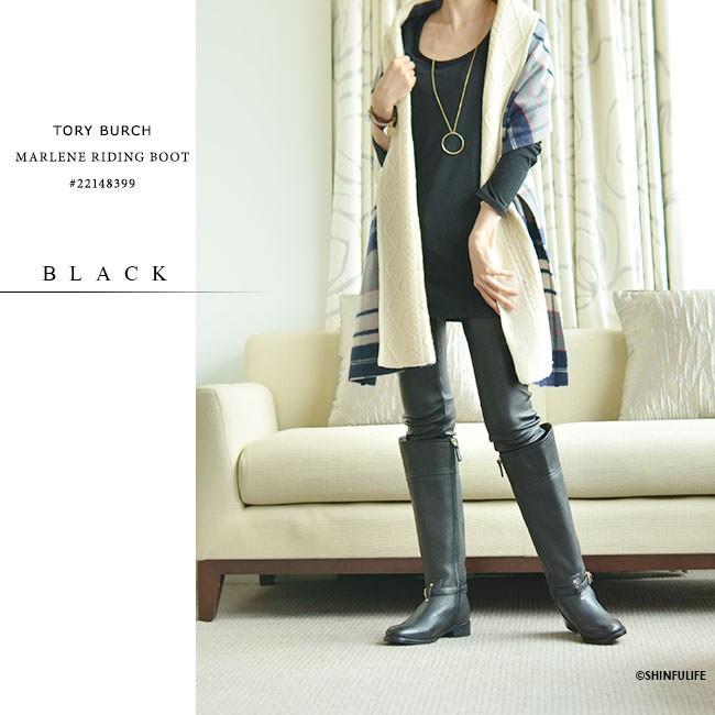 ロングブーツ マレーネライディングブーツ トリーバーチ TORY BURCH 正規品 MARLENE RIDING 黒 ブラック ブラウン 靴 大きいサイズ 送料無料 モデル画像 ブラック
