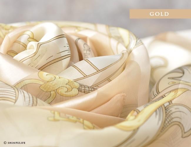 横浜スカーフ ジェシカベース 88x88 シルクサテンストライプ フレンチ柄 ベルト柄 シルク100% 日本製 敬老の日 母の日 誕生日 プレゼント 結婚式 フォーマル パーティ 入卒式 ベージュ