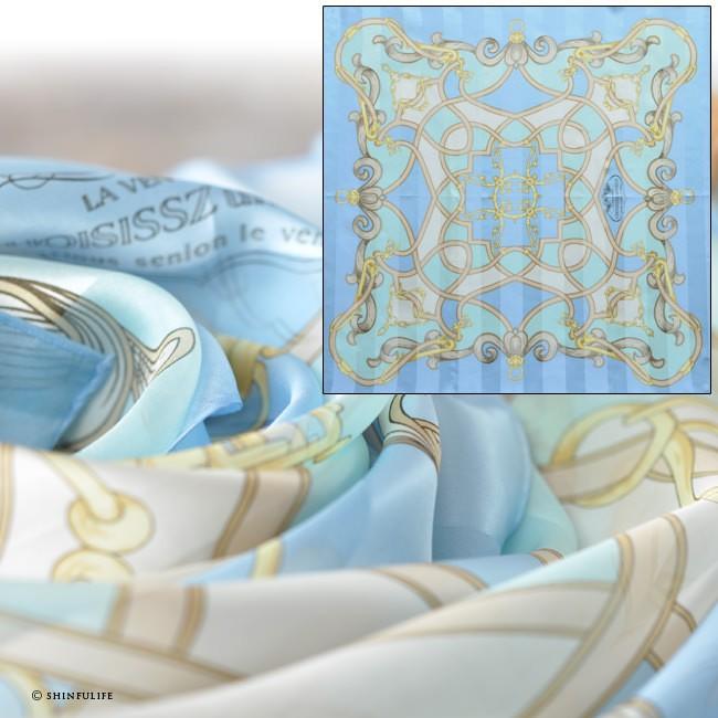 横浜スカーフ ジェシカベース 88x88 シルクサテンストライプ フレンチ柄 ベルト柄 シルク100% 日本製 敬老の日 母の日 誕生日 プレゼント 結婚式 フォーマル パーティ 入卒式 ブルー
