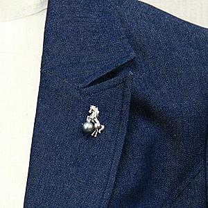 真珠:パール:ピンズ:あこや本真珠:7.5-8.0mm:イエロー系:馬:ピンブローチ:シルバー:SV:ホース