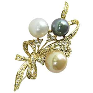 真珠:パール:ブローチ:タヒチ黒蝶真珠:南洋白蝶真珠