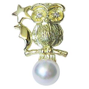 あこや本真珠:パール:K18:ゴールド:タイニーピン:ピンブローチ:ピンクホワイト系:6-6.5mm:ダイヤモンド:0.02ct:ふくろう:梟:18金:真珠
