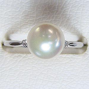 パール:真珠:リング:あこや本真珠:ピンクホワイト系:8.5mm:プラチナ:PT900:指輪:ダイヤモンド:0.05ct