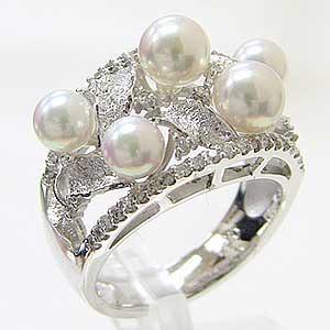 アコヤ本真珠:ダイヤモンド:パール:リング:ピンクホワイト系:4.25-5.25mm:PT900:プラチナ:指輪