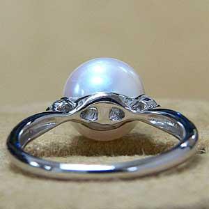 パール:リング:真珠:指輪:あこや本真珠:ピンクホワイト系:9mm:アコヤ:ダイヤモンド:0.07ct:プラチナ:PT900