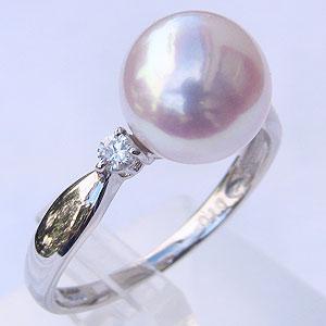 パール:真珠:リング:あこや本真珠:ピンクホワイト系:9mm:ホワイトゴールド:K18WG:指輪:ダイヤモンド:0.10ct