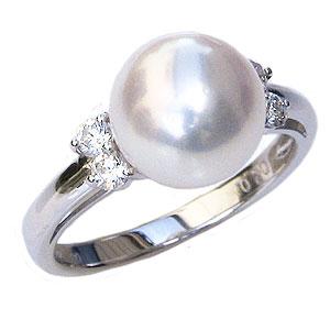 花珠真珠 パールリング 本真珠 大珠9mm 真珠指輪 あこや 純プラチナ PT999 ダイヤモンド 0.20ct