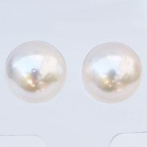 パールピアス 大珠 9mm 真珠ピアス スタッドピアス あこや本真珠 ホワイトゴールド