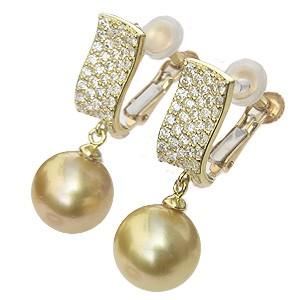 真珠:パール:イヤリング:ゴールド系:南洋白蝶真珠:ゴールデンパール:10mm:ゴールド:K18:18金:ダイヤモンド:0.76ct