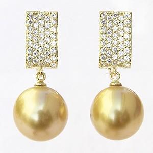 真珠:パール:イヤリング:ゴールド系:南洋白蝶真珠:ゴールデンパール:11mm:ゴールド:K18:18金:ダイヤモンド:0.76ct