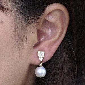 真珠:パール:イヤリング:ホワイト系:南洋白蝶真珠:10mm:K18:ゴールド:18金:ダイヤモンド:0.40ct