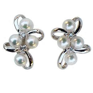 ベビーパール イヤリング あこや本真珠 3.5-4mm パールイヤリング ダイヤモンド 0.04ct ホワイトゴールド マルチプル