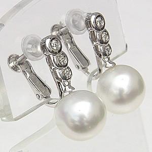 真珠 パール  イヤリング 南洋白蝶真珠 PT900 プラチナ 真珠の直径10mm ホワイトピンク系 ダイヤモンド 6石 0.12ct  イヤリング 6月誕生石