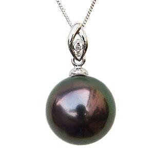ブラックパール ペンダントトップ  黒真珠 10mm タヒチ黒蝶真珠 ダイヤモンド 0.01ct K18WG ホワイトゴールド