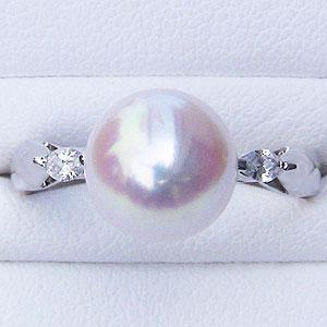 花珠 パールリング 真珠指輪 花珠あこや真珠 大珠9mm プラチナ PT900 ダイヤモンド