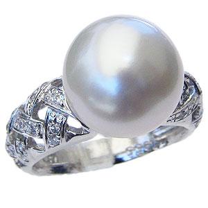 パール:真珠:指輪:南洋白蝶真珠:12mm:ピンクホワイト系:PT900:プラチナ:ダイアモンド:0.30ct:リング
