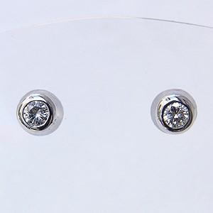 メンズ:ダイヤモンド:0.2ct:ピアス:K18WG:ホワイトゴールド