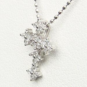 十字架 ダイヤモンド0.24ctペンダント ネックレス クロス ホワイトゴールド K18WG Cross