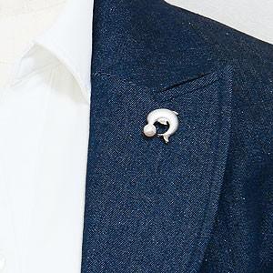 メンズブローチ トカゲ パールブローチ ピンズ 【RCP】 蜥蜴 男性用 真珠ブローチ トカゲ ラペルピン ピンブローチ