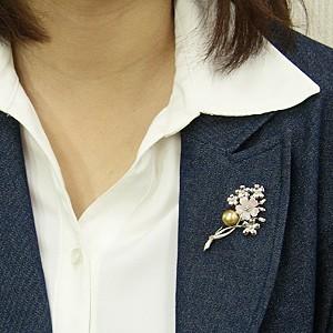 パール:ブローチ:真珠:ゴールデンパール:南洋白蝶真珠:ゴールド系:直径10mm:ピンク貝:花:花モチーフ:フラワー:フラワーモチーフ:SV:シルバー
