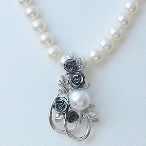 パール:ブローチ:ペンダントブローチ:真珠:ホワイトパール:南洋白蝶真珠:ホワイト系:直径10mm:黒蝶貝:薔薇:花:植物:SV:シルバー
