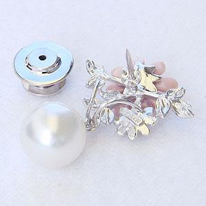 真珠パールブローチ 6月誕生石 ピンズ 南洋白蝶真珠 10mm ホワイト系 ピンク貝 花 フラワーモチーフ パール 真珠