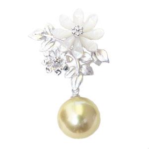 真珠パール 6月誕生石 パールブローチ ピンズ 南洋白蝶真珠 10mm ゴールド系 白蝶貝 花 フラワーモチーフ ゴールデンパール 真珠