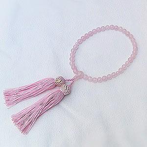 数珠 ピンク 紅水晶 ローズクォーツ  念珠 数珠 女性用